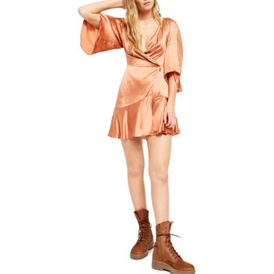 Free People Strike A Pose Wrap Dress, Orange