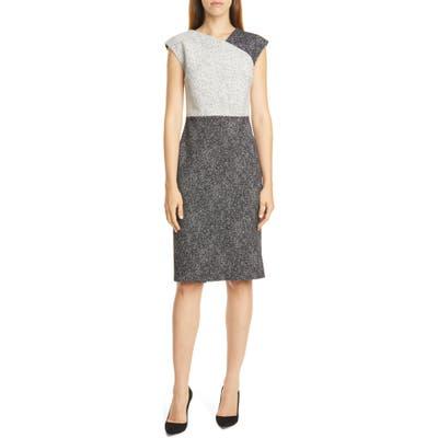 Petite Boss Dechesta Tweed Colorblock Sheath Dress, Black
