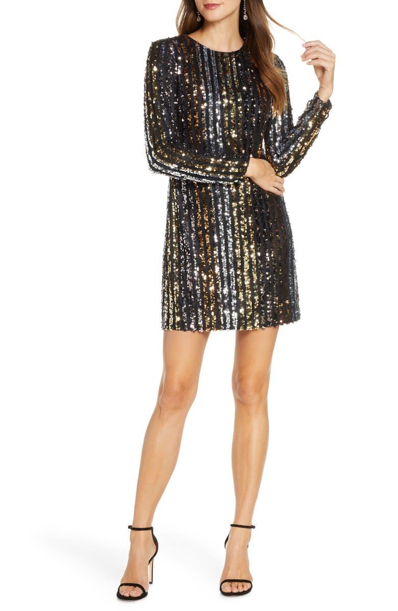 VINCE CAMUTO Sequin Stripe Long Sleeve Shift Dress, Main, color, SILVER BLUE