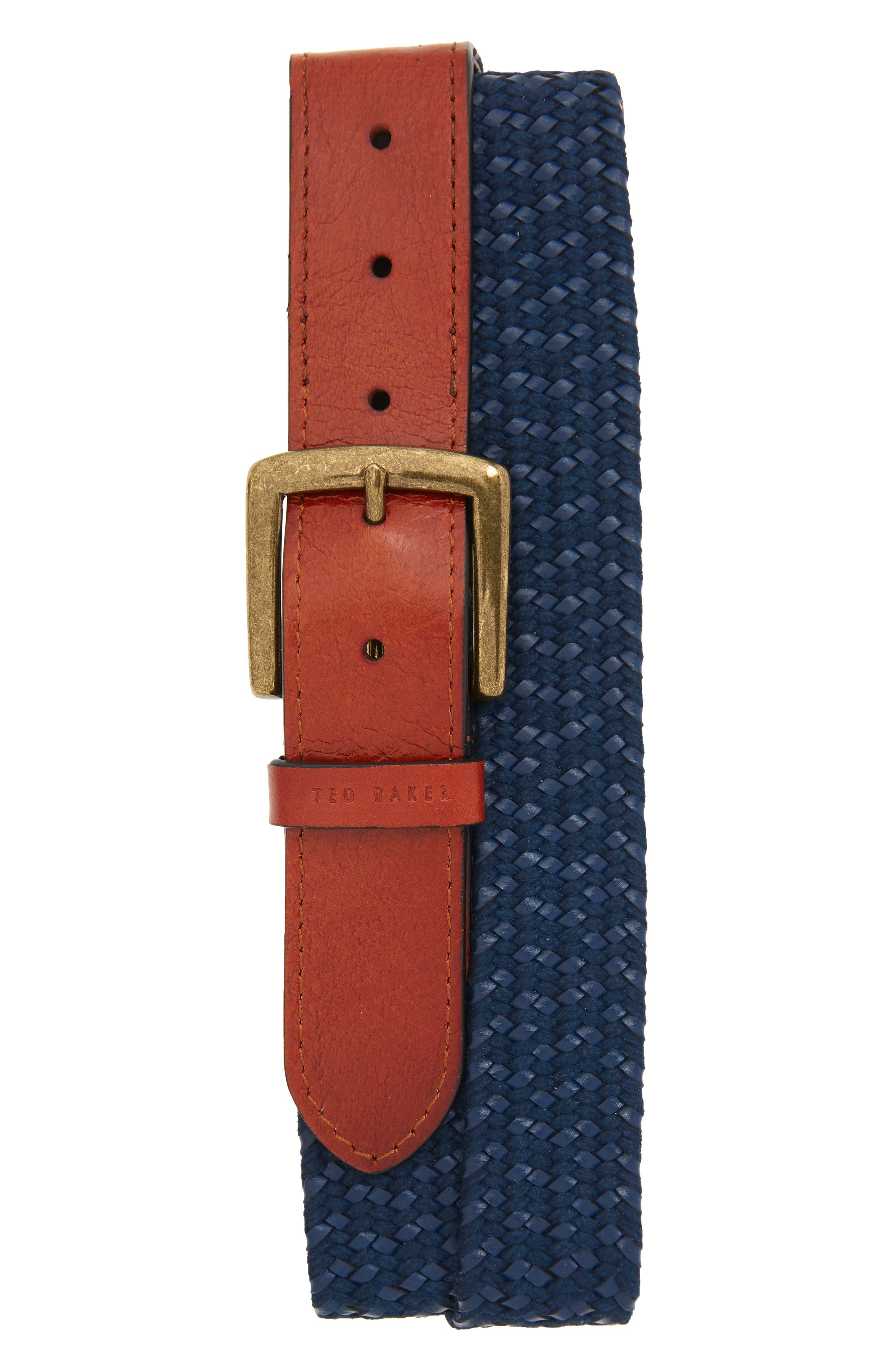 Ted Baker London Woven Leather Belt, Navy