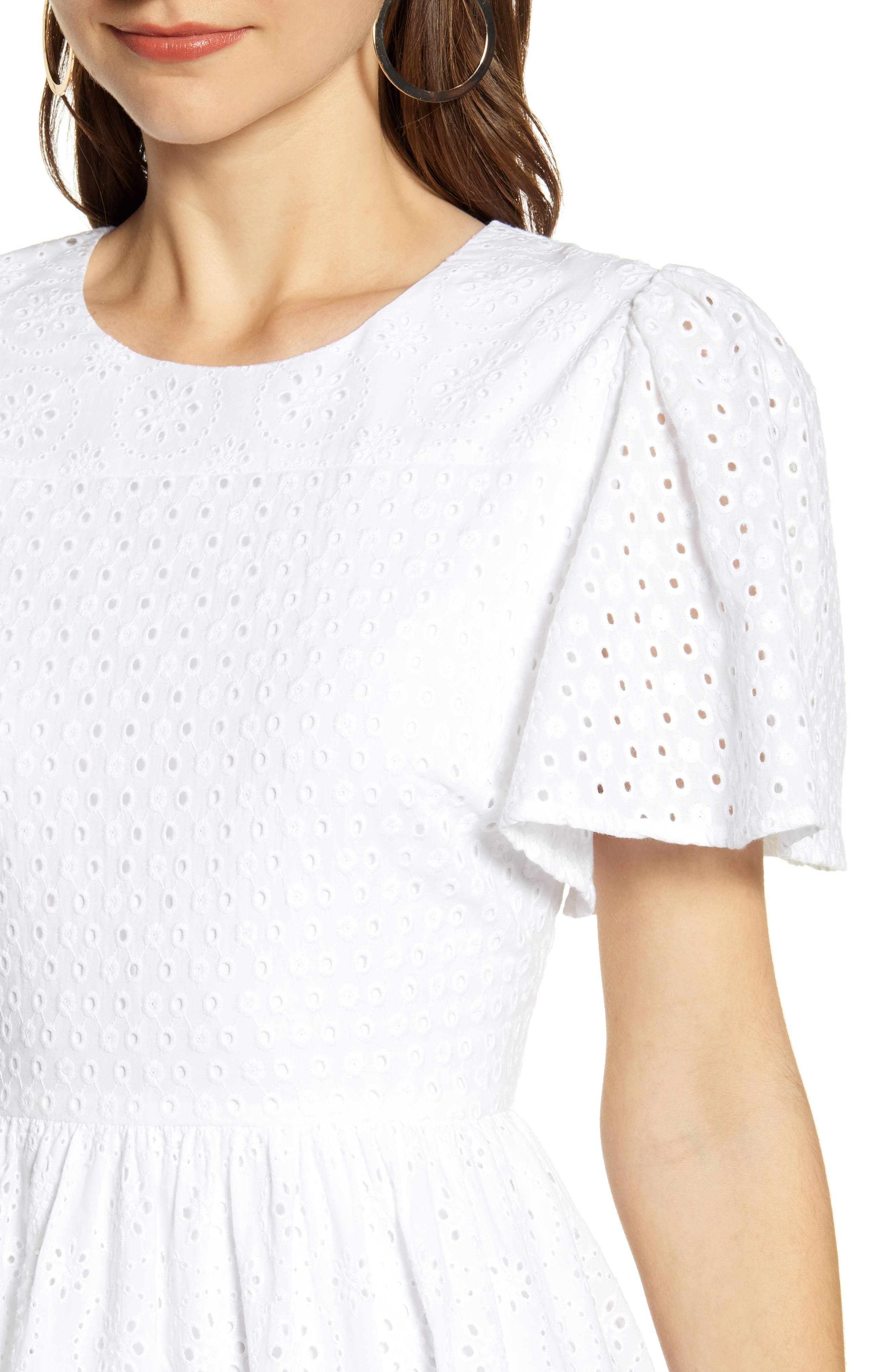 ,                             Mixed Eyelet A-Line Dress,                             Alternate thumbnail 5, color,                             WHITE