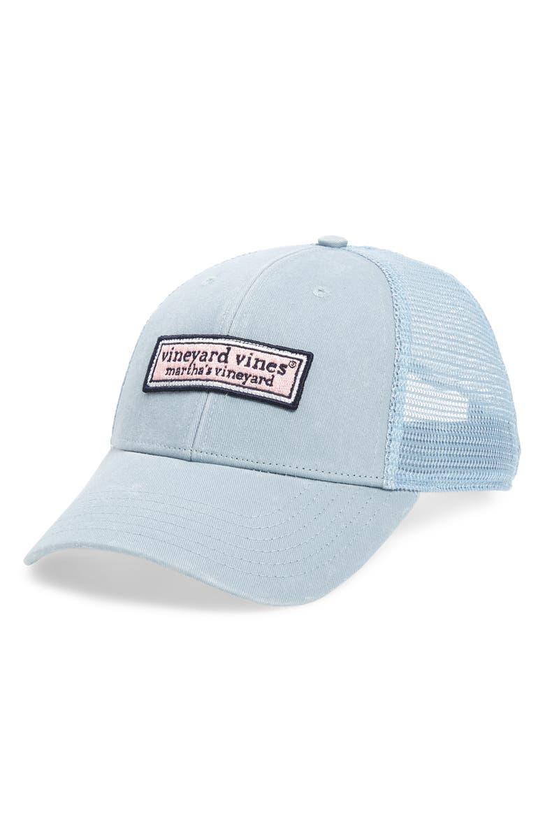 VINEYARD VINES Logo Box Trucker Hat, Main, color, 034