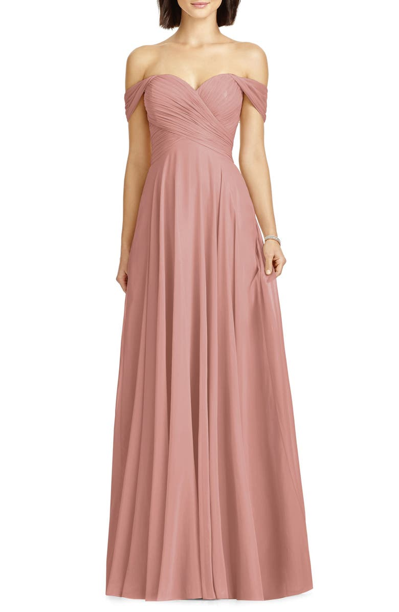 DESSY COLLECTION Lux Ruched Off the Shoulder Chiffon Gown, Main, color, DESERT ROSE