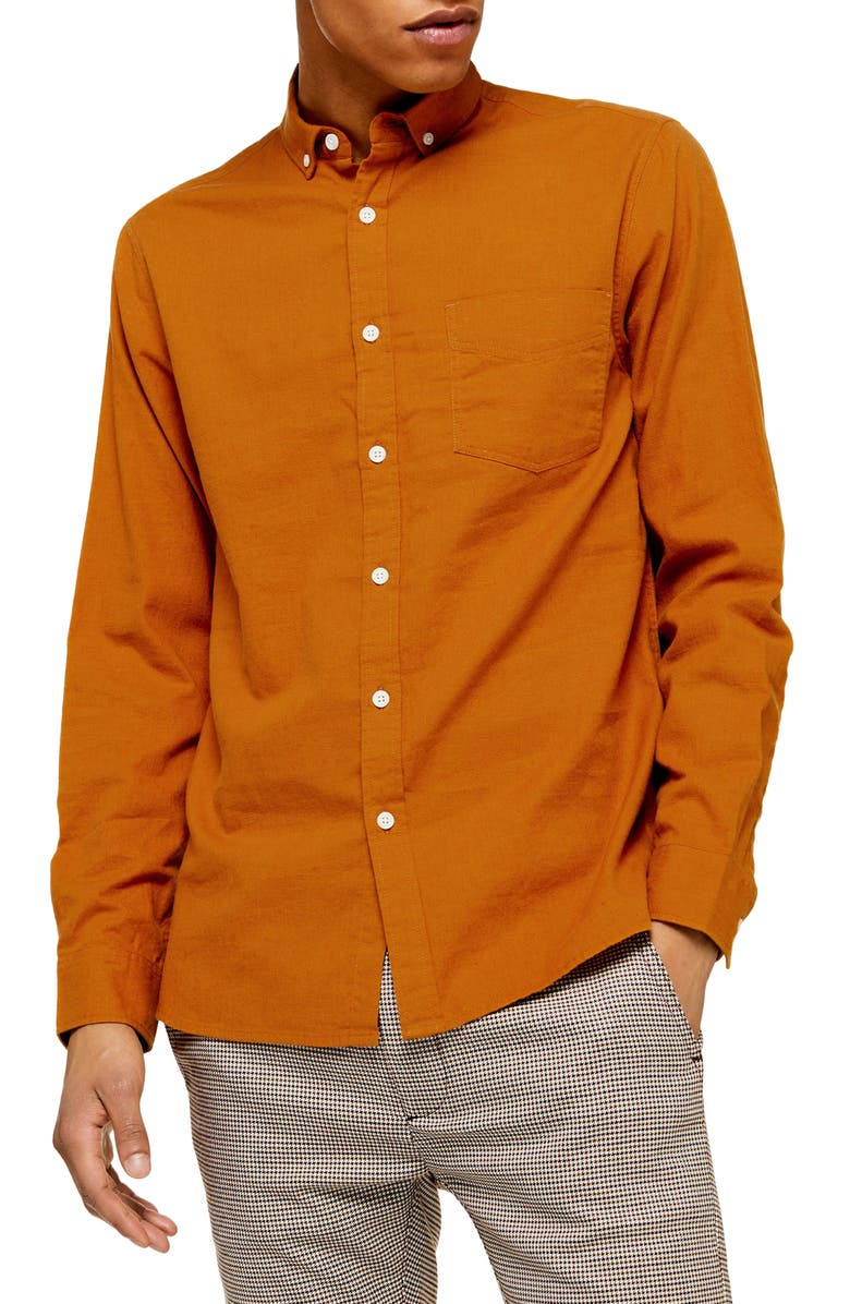 TOPMAN Classic Fit Solid Button-Down Shirt, Main, color, 200