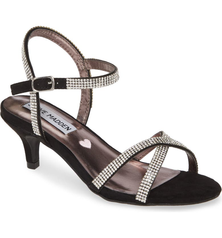 STEVE MADDEN JClass Crystal Embellished Sandal, Main, color, BLACK