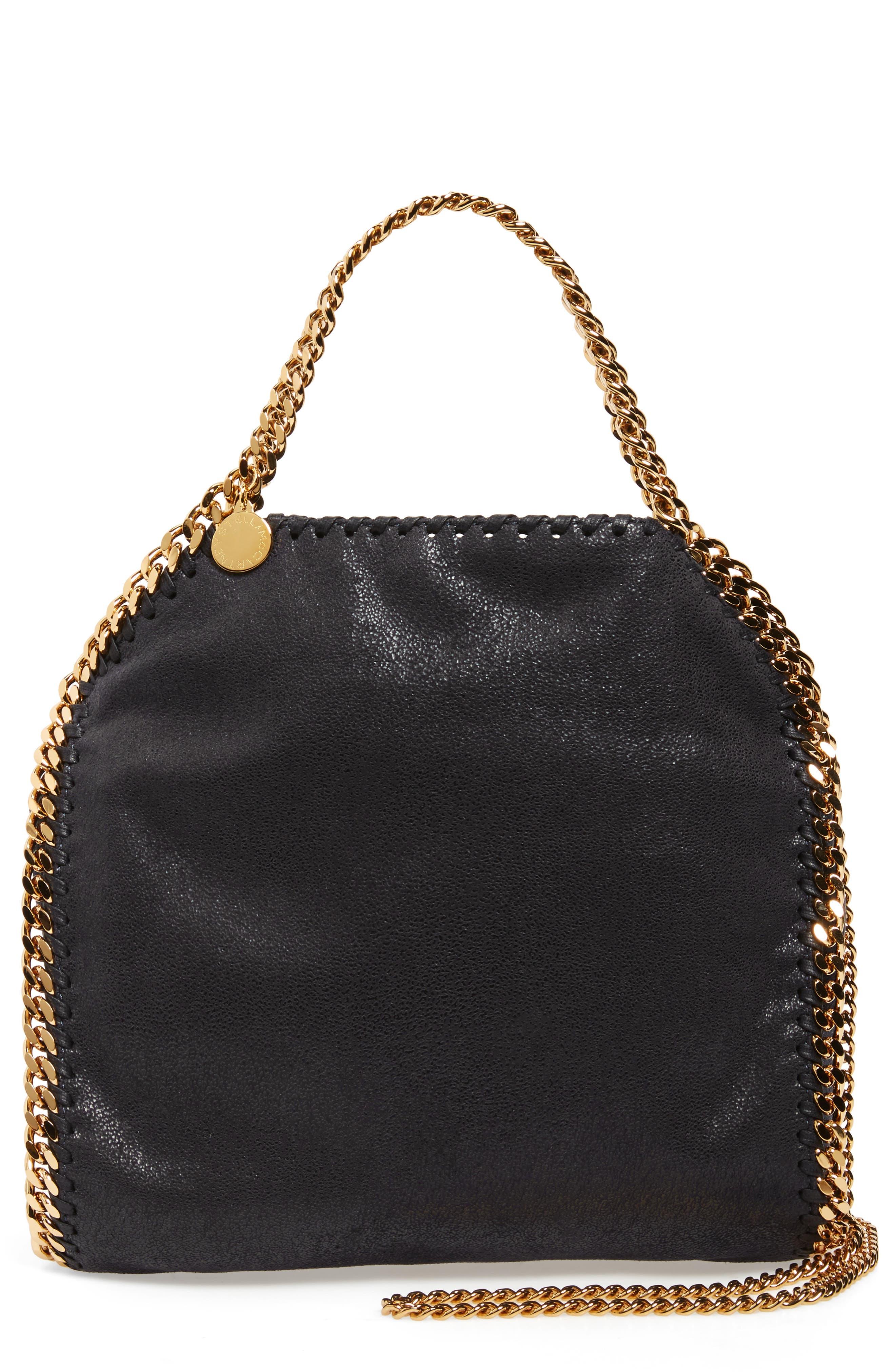 'Mini Falabella - Shaggy Deer' Faux Leather Tote, Main, color, BLACK W/ GOLD