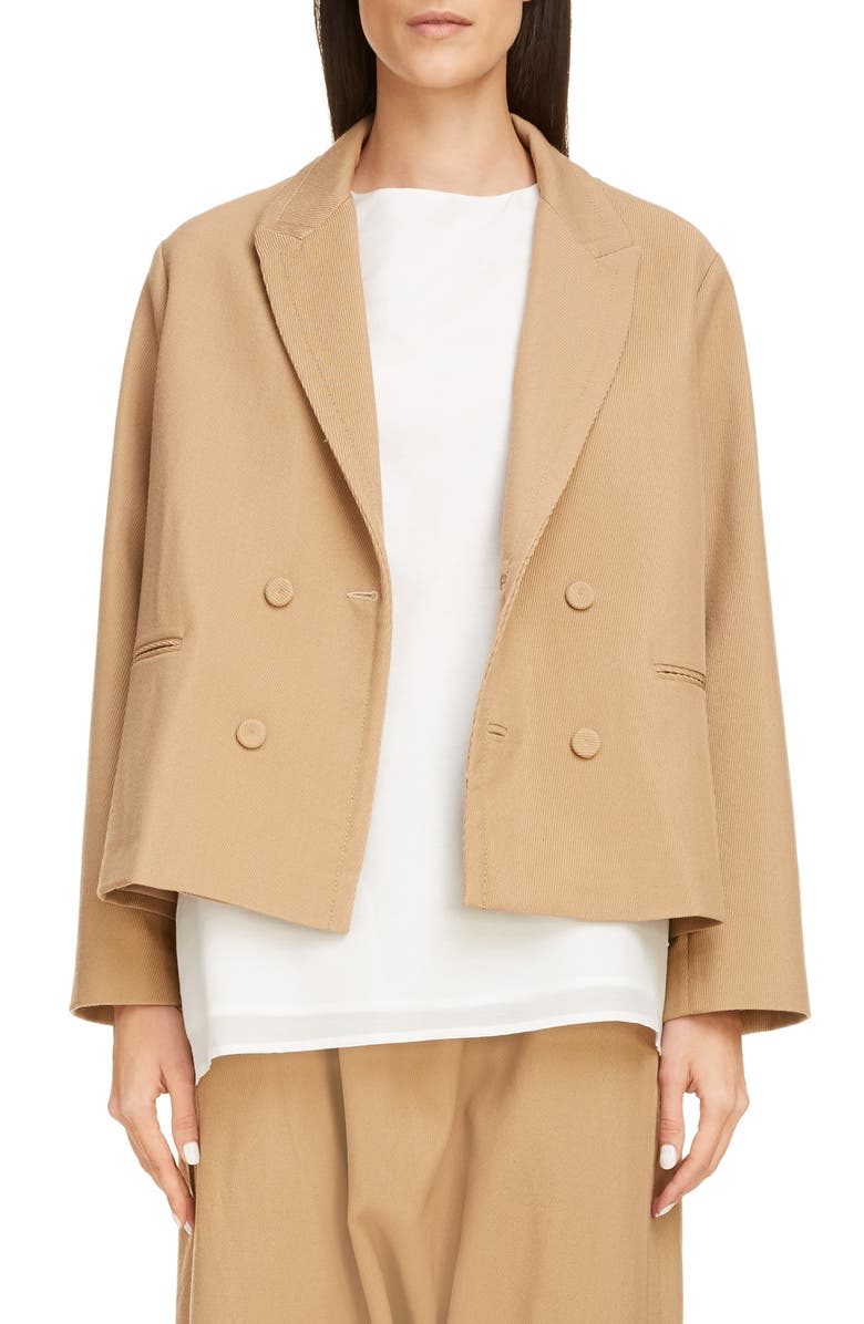 SARA LANZI Boxy Double Breasted Wool Blend Twill Crop Jacket, Main, color, BEIGE
