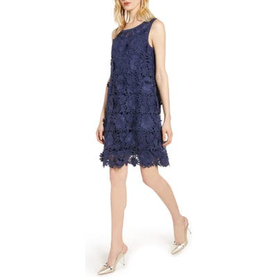 Halogen Lace Shift Dress, Blue