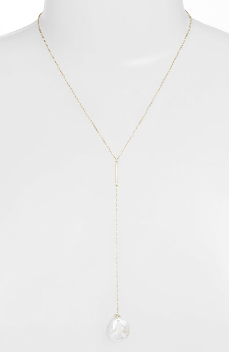 KENDRA SCOTT Andi Natural Pearl Y Necklace, Main, color, GOLD/ WHITE BAROQUE PEARL