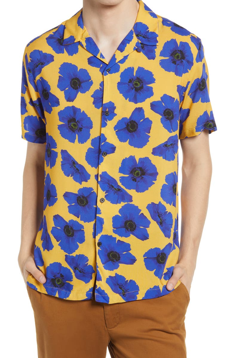 TOPMAN Floral Short Sleeve Button-Up Camp Shirt, Main, color, YELLOW MULTI
