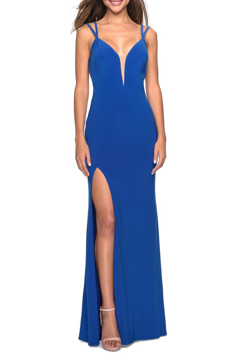 LA FEMME Strappy Back Fitted Jersey Evening Dress, Main, color, ROYAL BLUE