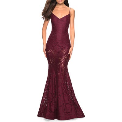 La Femme Stretch Lace Mermaid Evening Dress, Burgundy