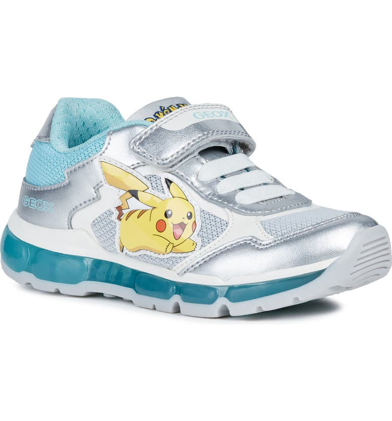 GEOX Jr Android Light-Up Sneaker, Main, color, SILVER/ AQUA