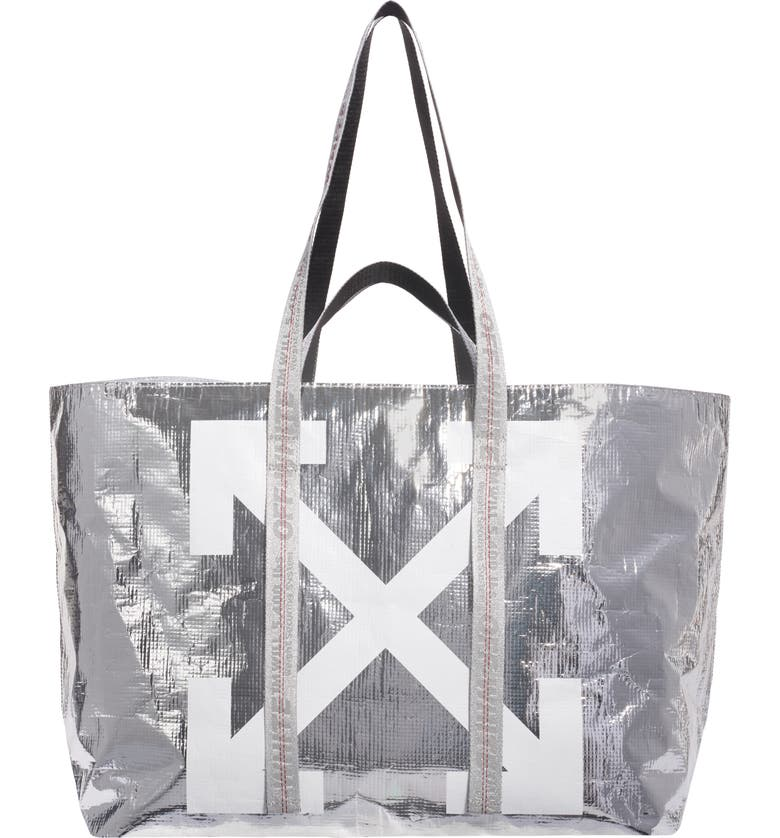 OFF-WHITE New Commercial Tote, Main, color, SILVER WHITE