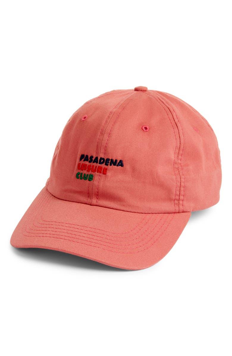 PASADENA LEISURE CLUB Logo Cap, Main, color, CORAL