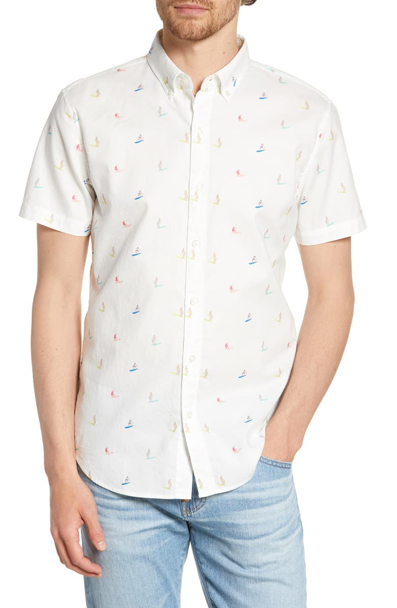 BONOBOS Riviera Slim Fit Surfer Flamingo Print Shirt, Main, color, SURFER FLAMINGO
