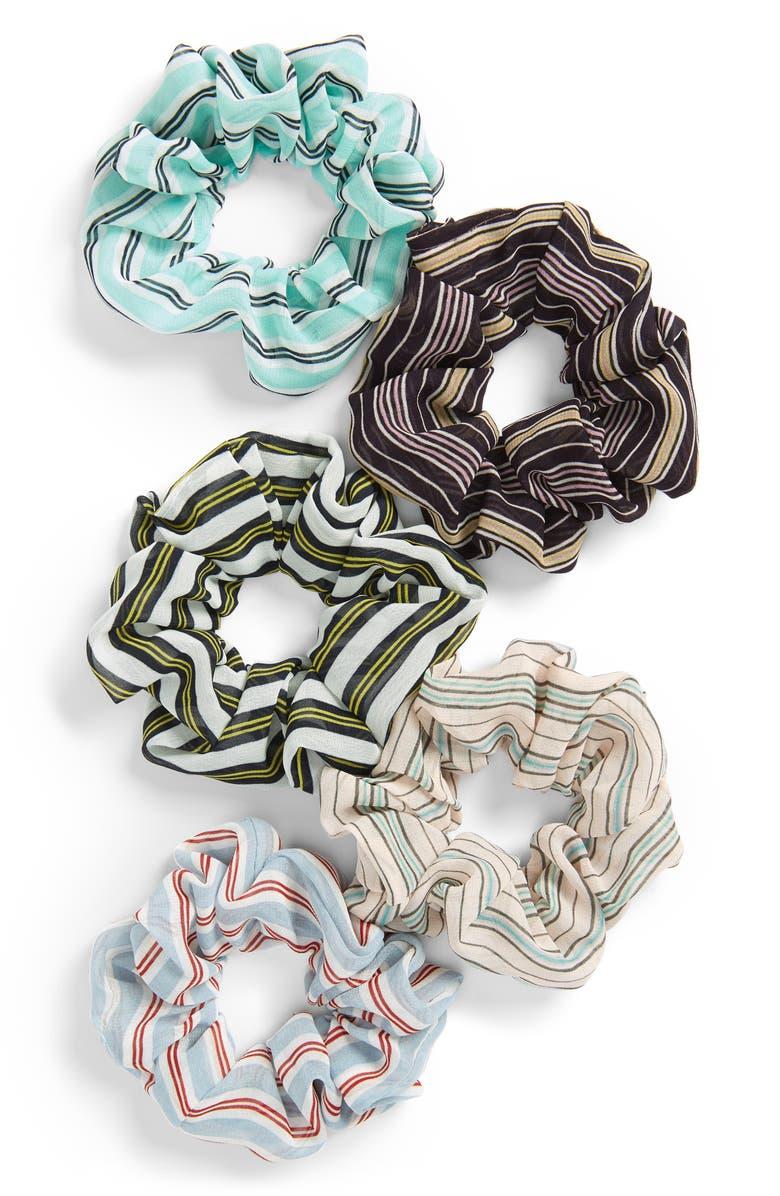 BP. 5-Pack Stripe Scrunchie Set, Main, color, 000