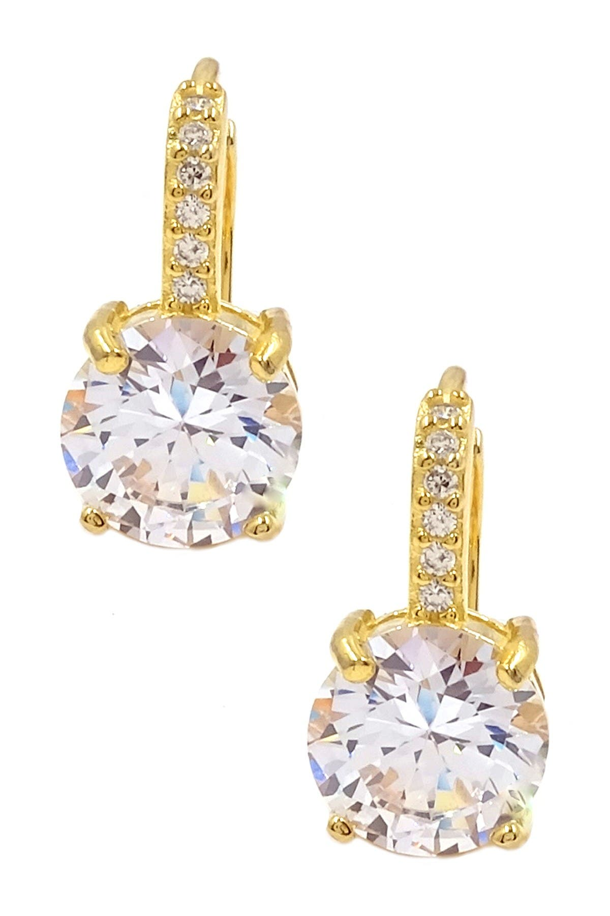 Image of Savvy Cie 18K Yellow Gold Vermeil Round-Cut Z Drop Earrings