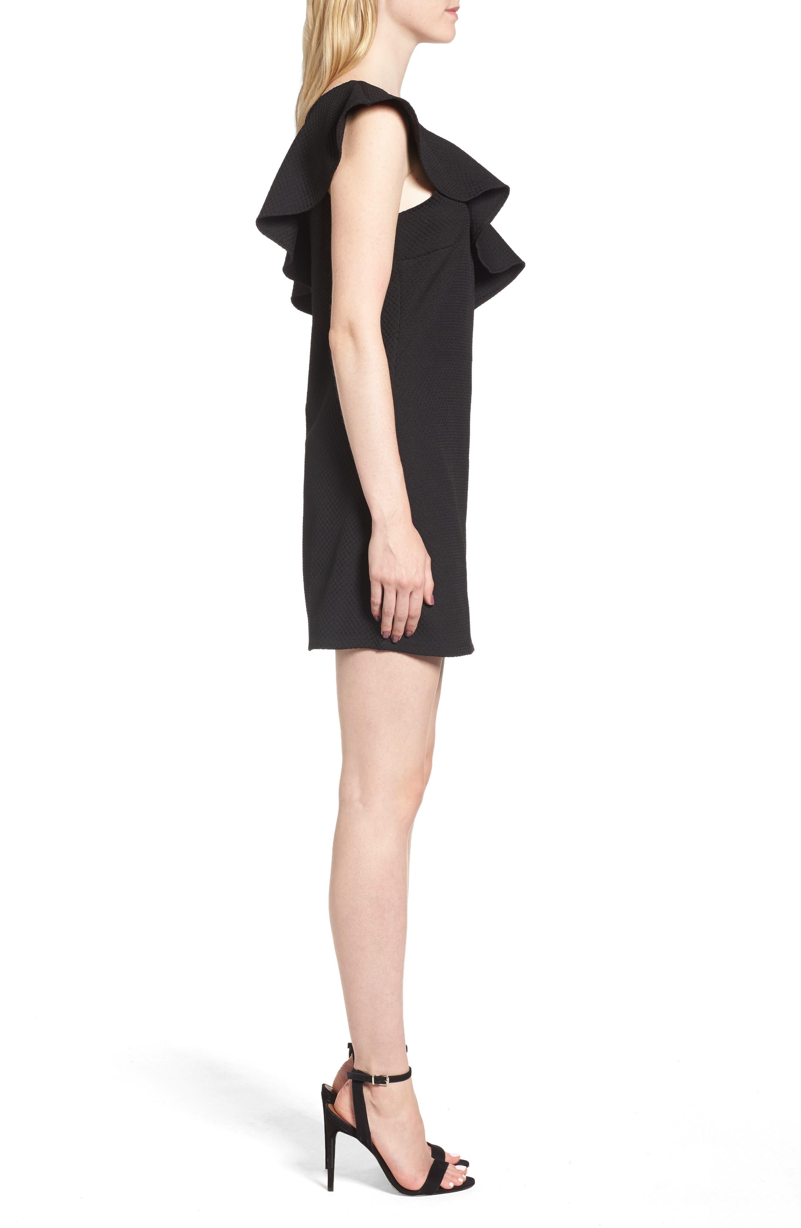 ,                             Ruffle One-Shoulder Dress,                             Alternate thumbnail 3, color,                             001