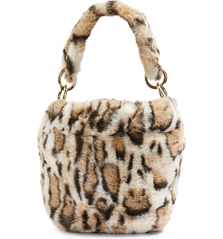 TOPSHOP Teddy Faux Fur Bucket Bag, Main, color, 211