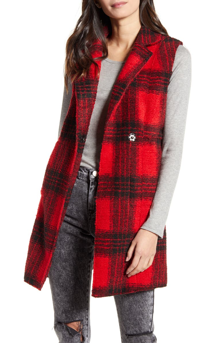 VIGOSS Plaid Cozy Vest, Main, color, 610