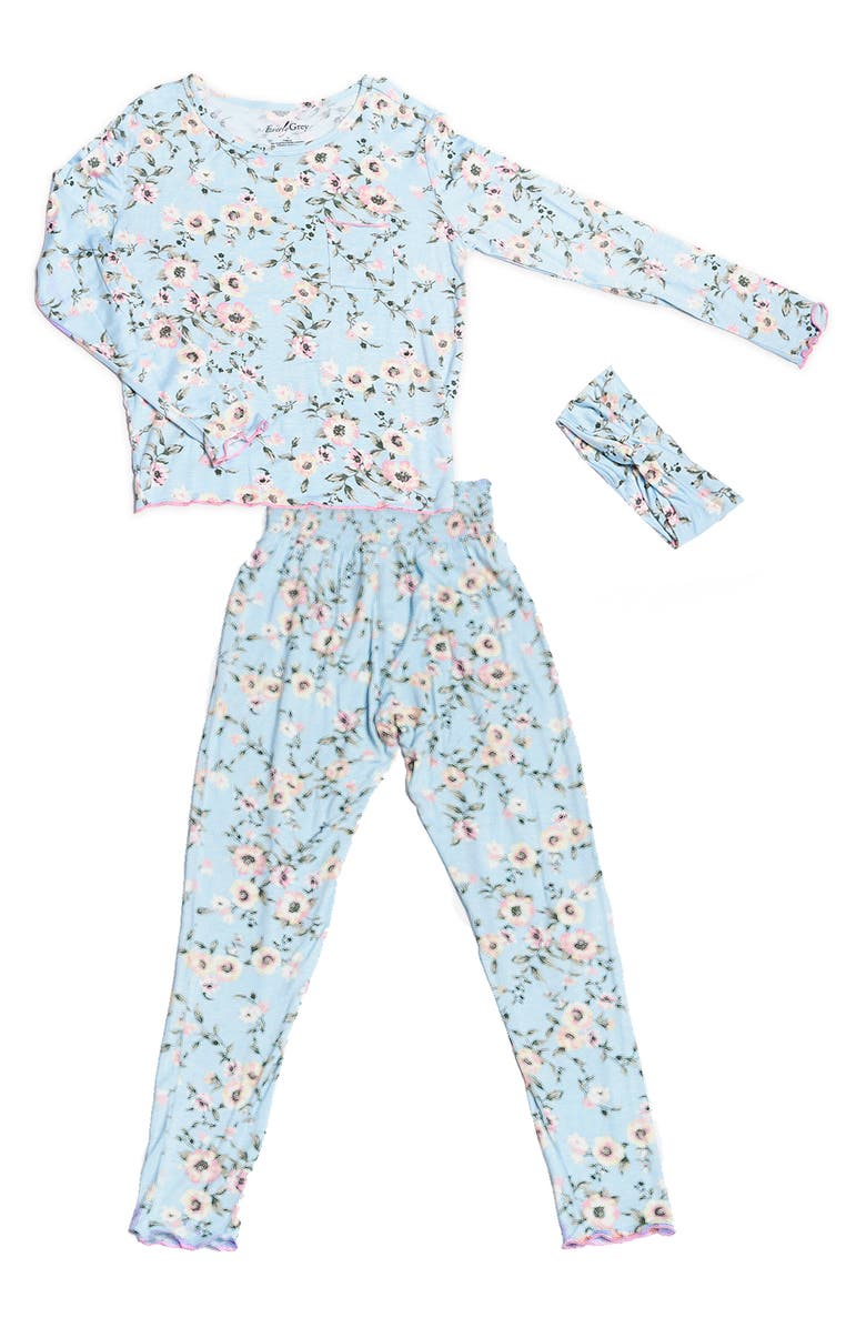 BABY GREY Charlie Fitted Two-Piece Pajamas & Head Wrap Set, Main, color, CLOUD BLUE