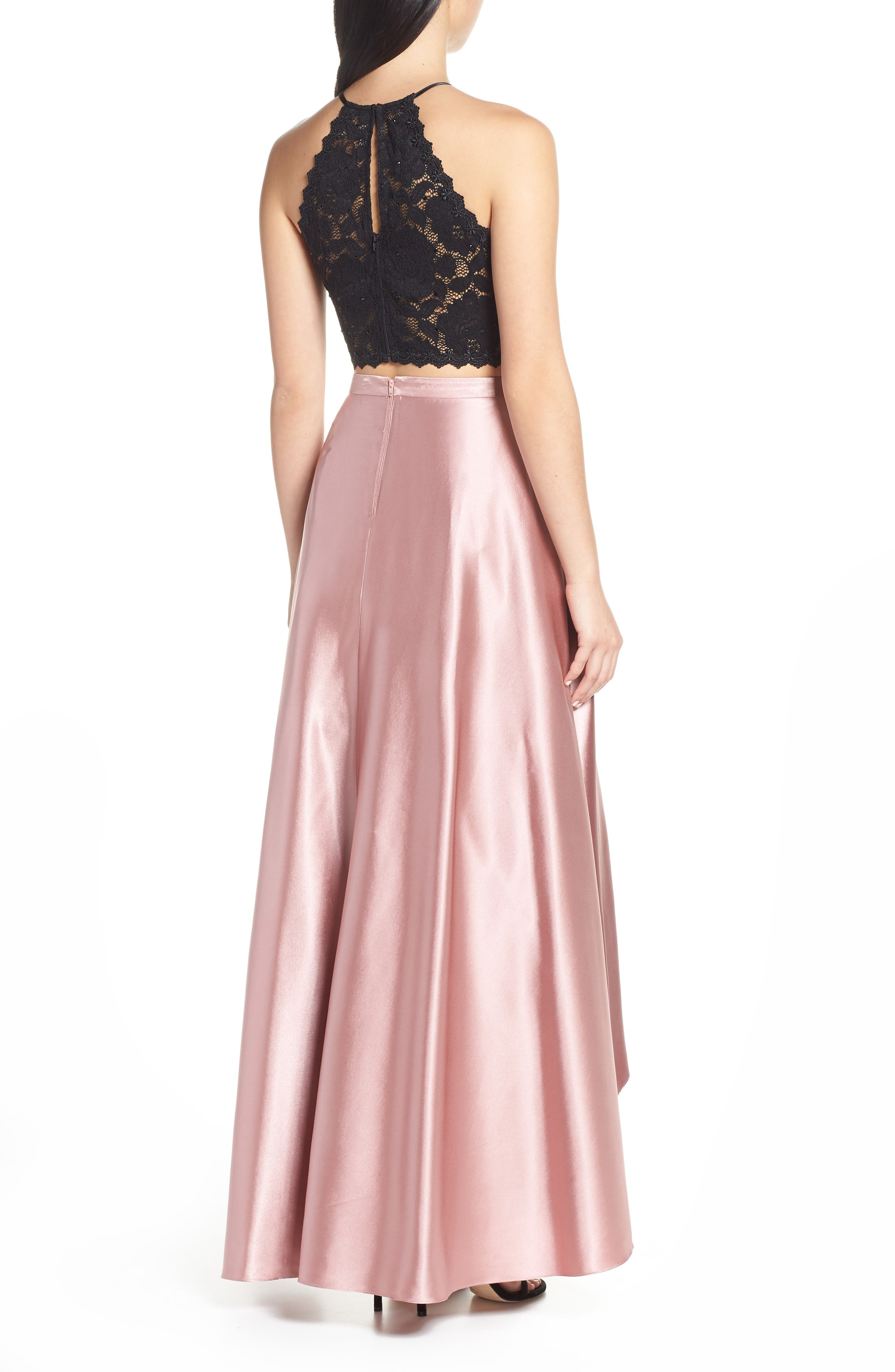 ,                             Glitter Lace & Satin High/Low Two-Piece Evening Dress,                             Alternate thumbnail 2, color,                             ROSE/ BLACK