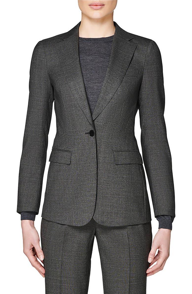 SUISTUDIO Cameron Wool Suit Jacket, Main, color, GREY