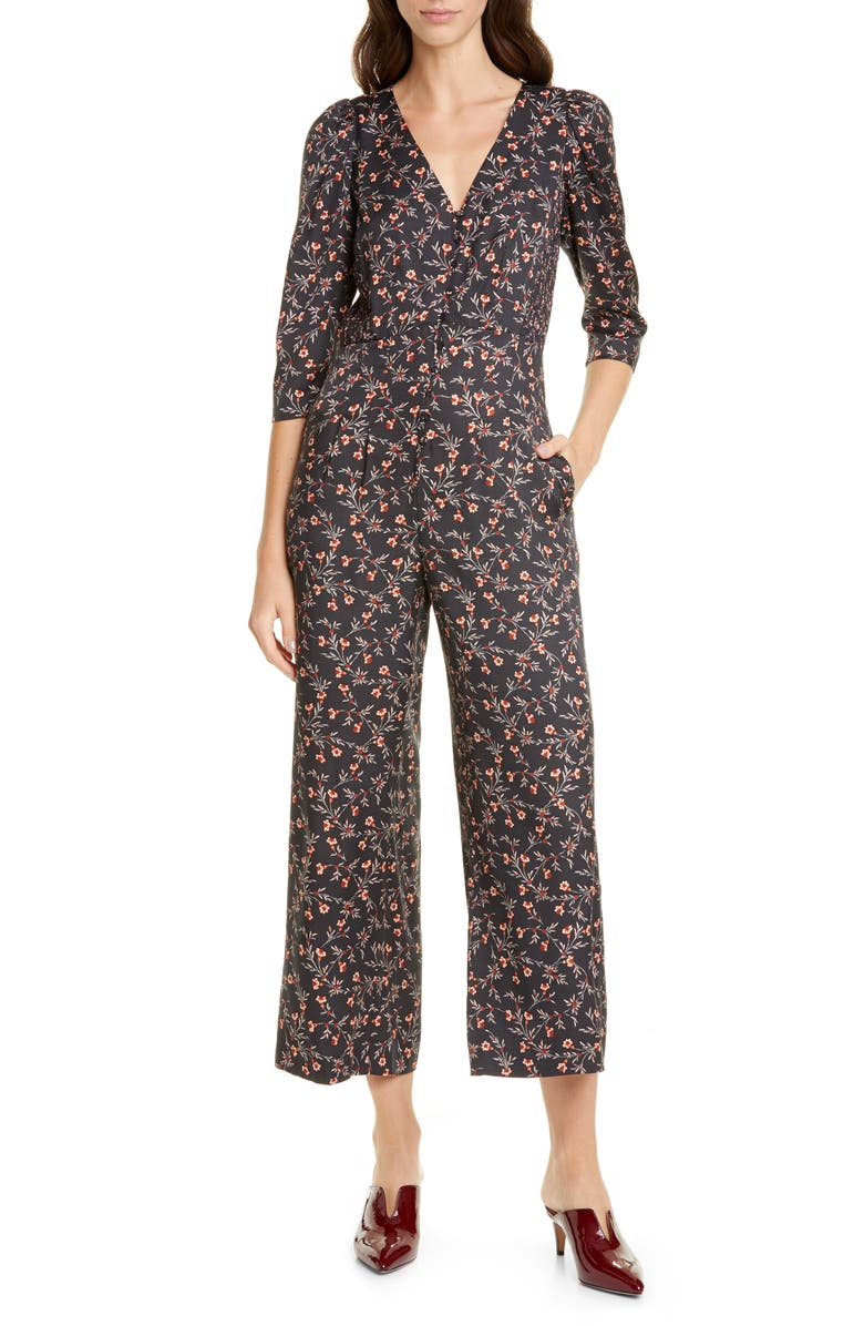 REBECCA TAYLOR Lia Floral Print Crop Jumpsuit, Main, color, 014