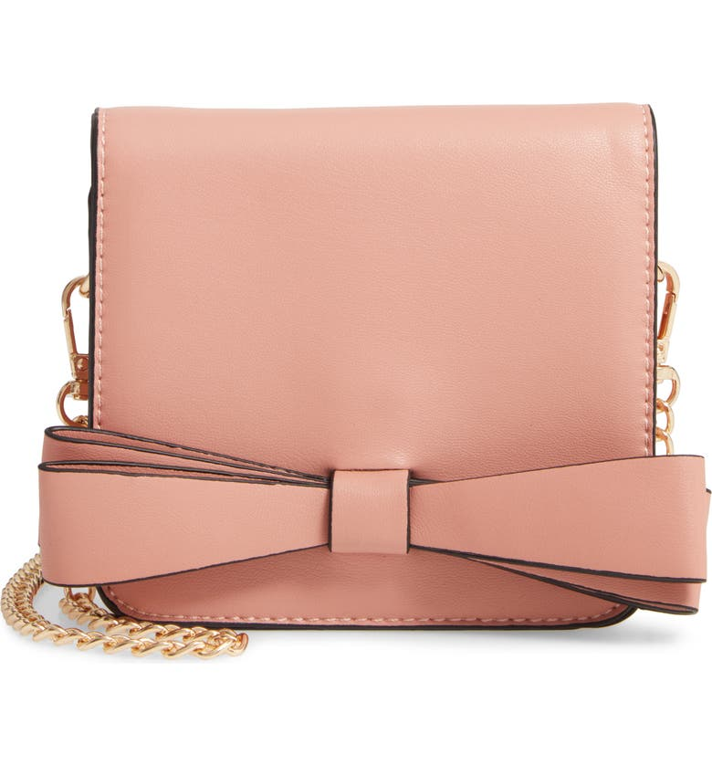 POPATU Bow Faux Leather Crossbody Bag, Main, color, PINK