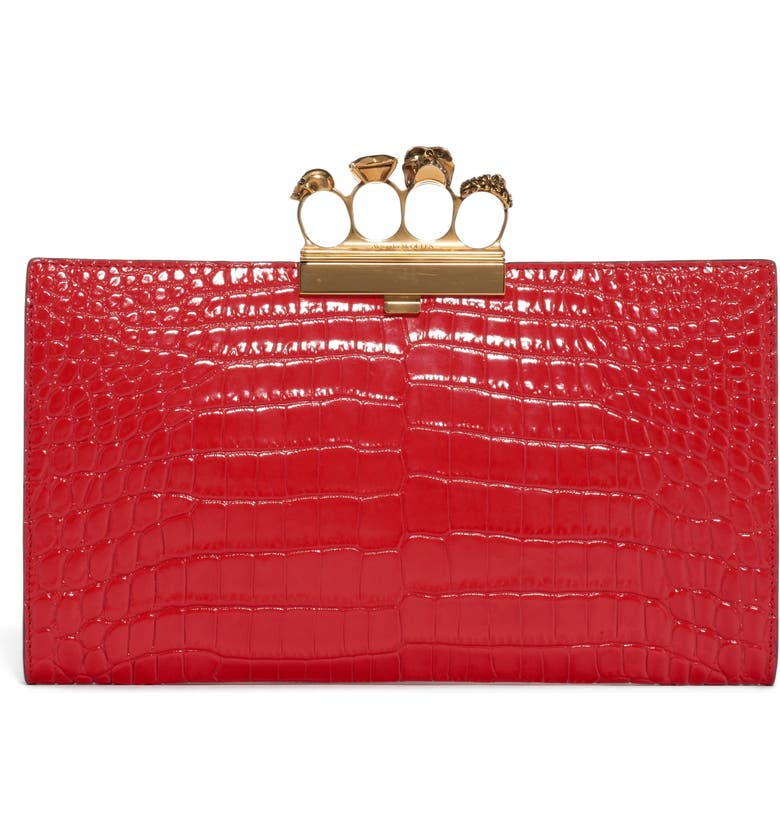ALEXANDER MCQUEEN Four-Ring Knuckle Clasp Croc Embossed Leather Clutch, Main, color, DEEP RED