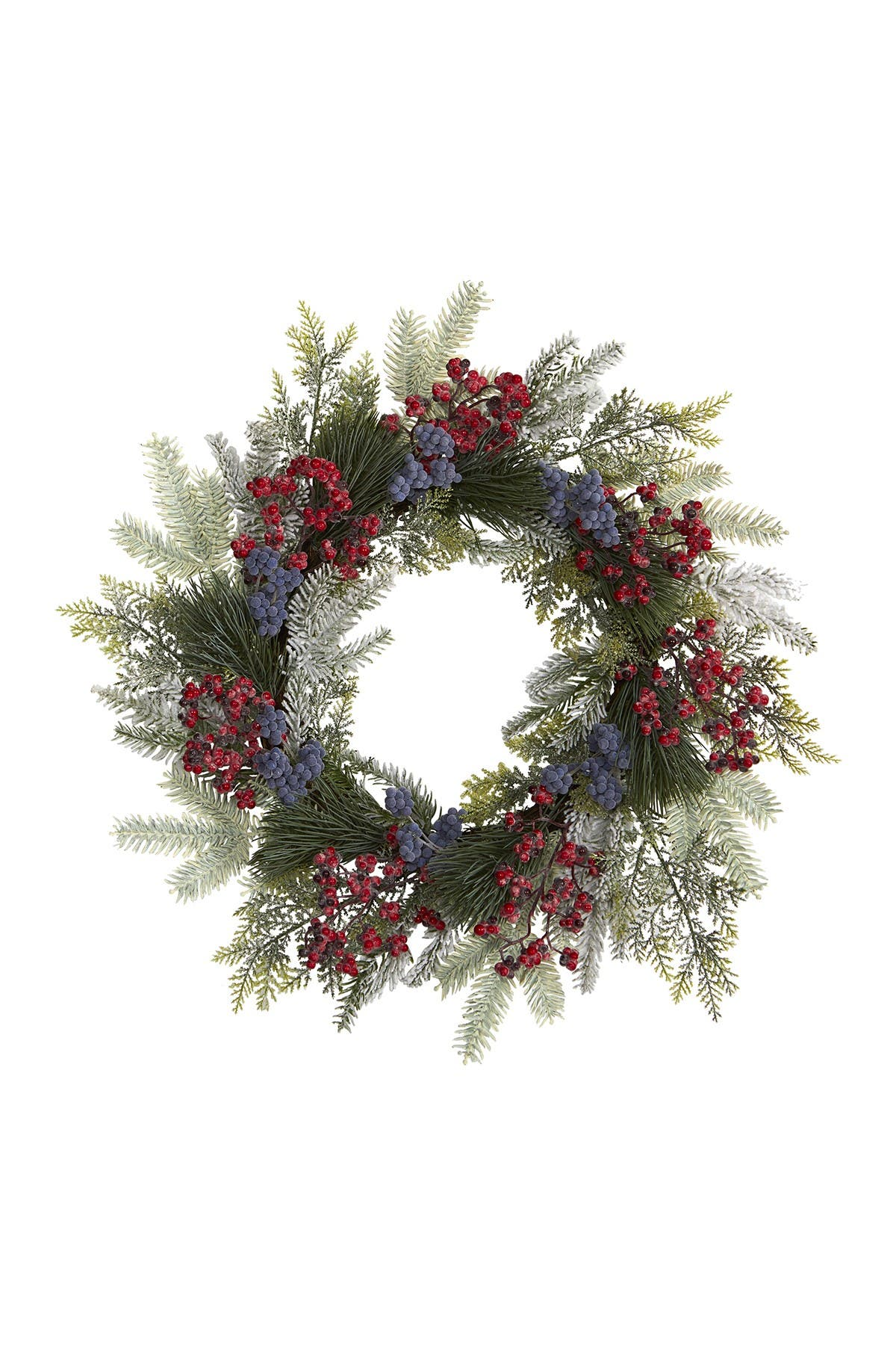"""Image of NEARLY NATURAL 24"""" Pine, Cedar, & Berries Artificial Wreath"""