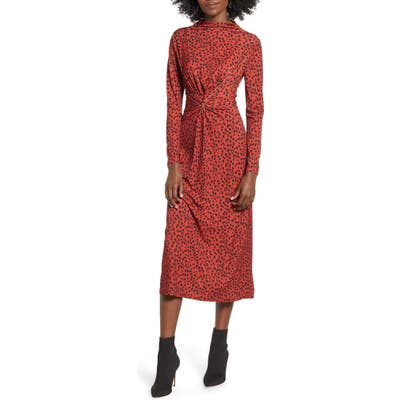 Wayf Prudence Twist Front Long Sleeve Midi Dress, Red