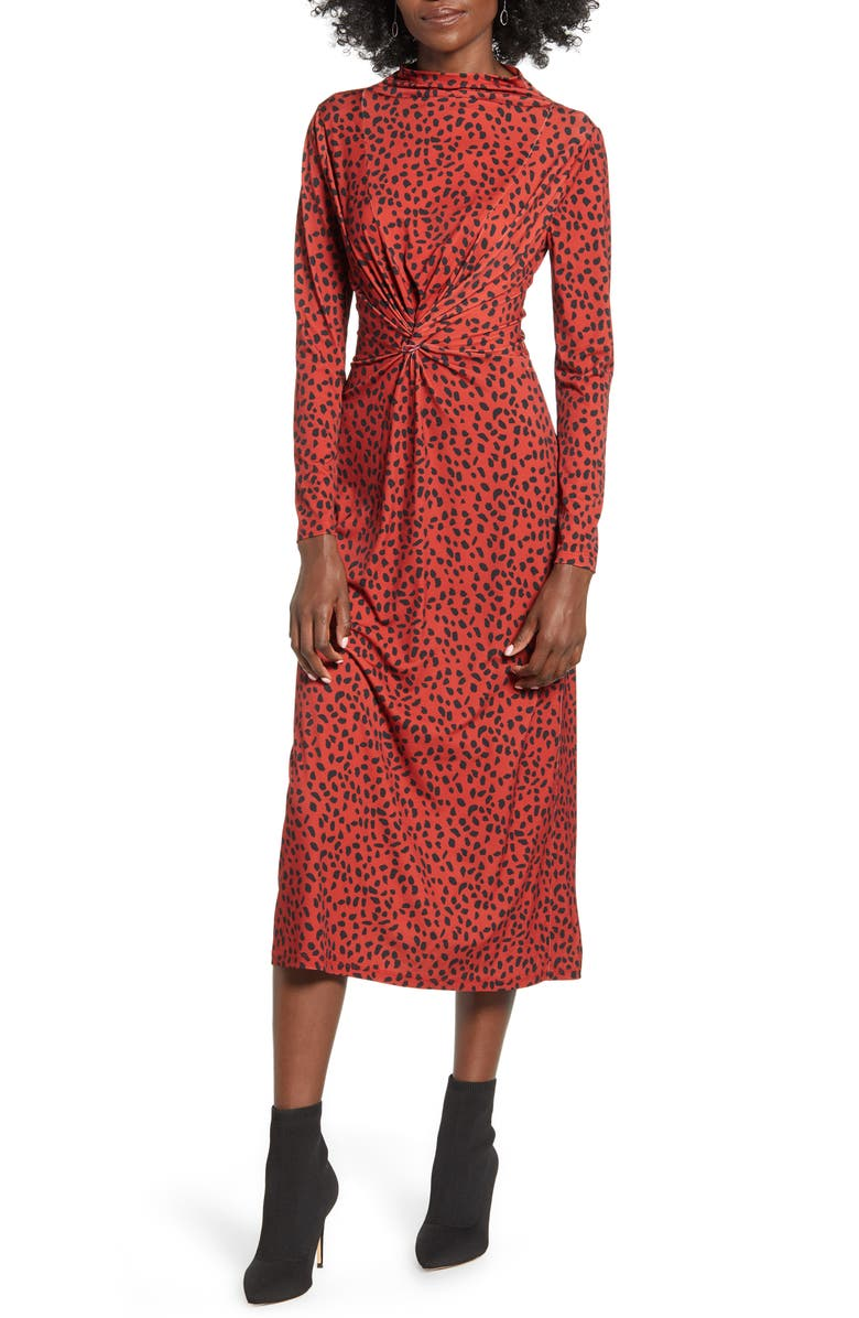 WAYF Prudence Twist Front Long Sleeve Midi Dress, Main, color, RED CHEETAH