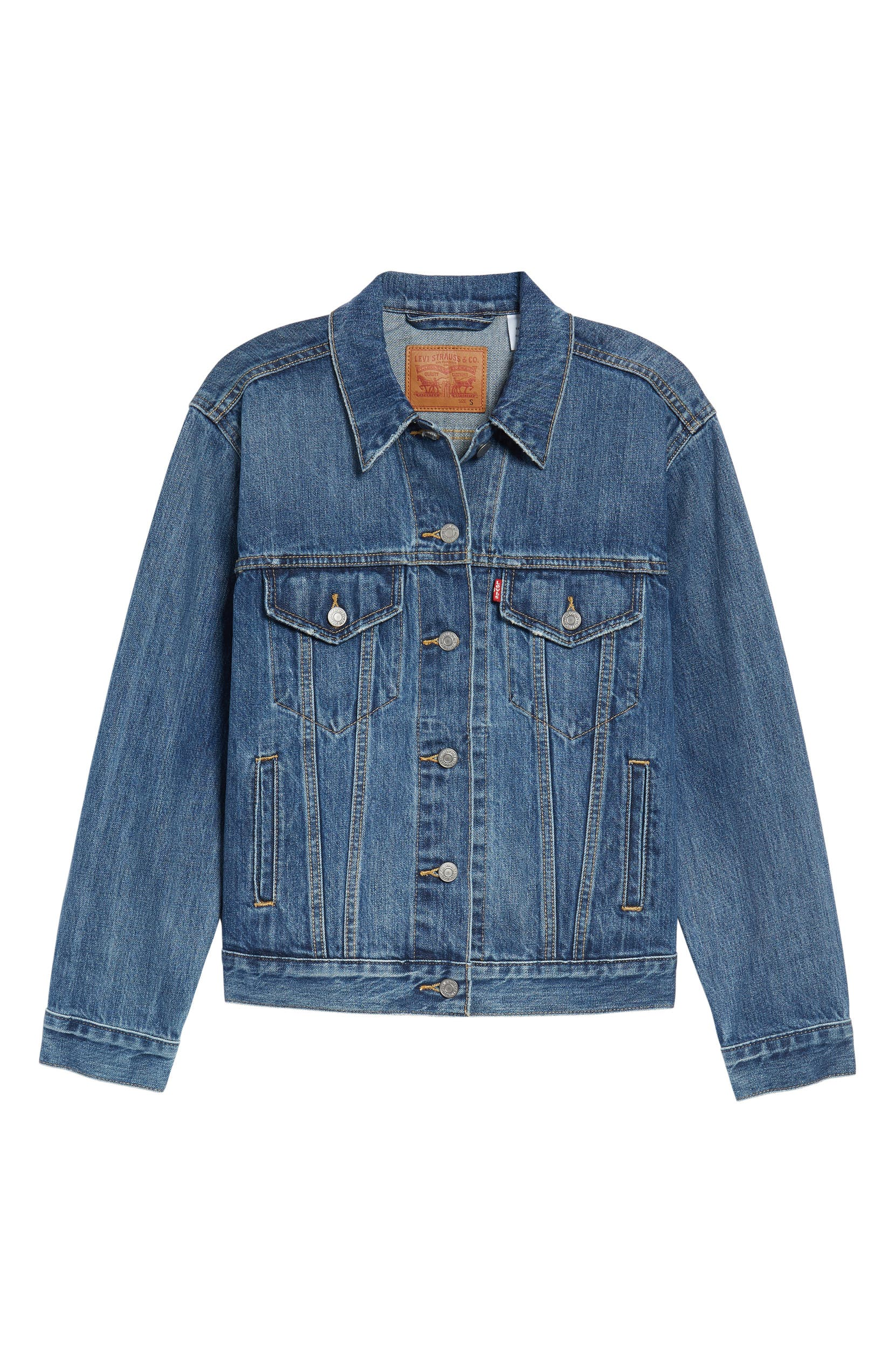 Ex-Boyfriend Denim Trucker Jacket, Alternate, color, GROOVEMARKS