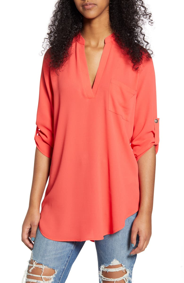 ALL IN FAVOR Perfect Henley Tunic, Main, color, POPPY RED
