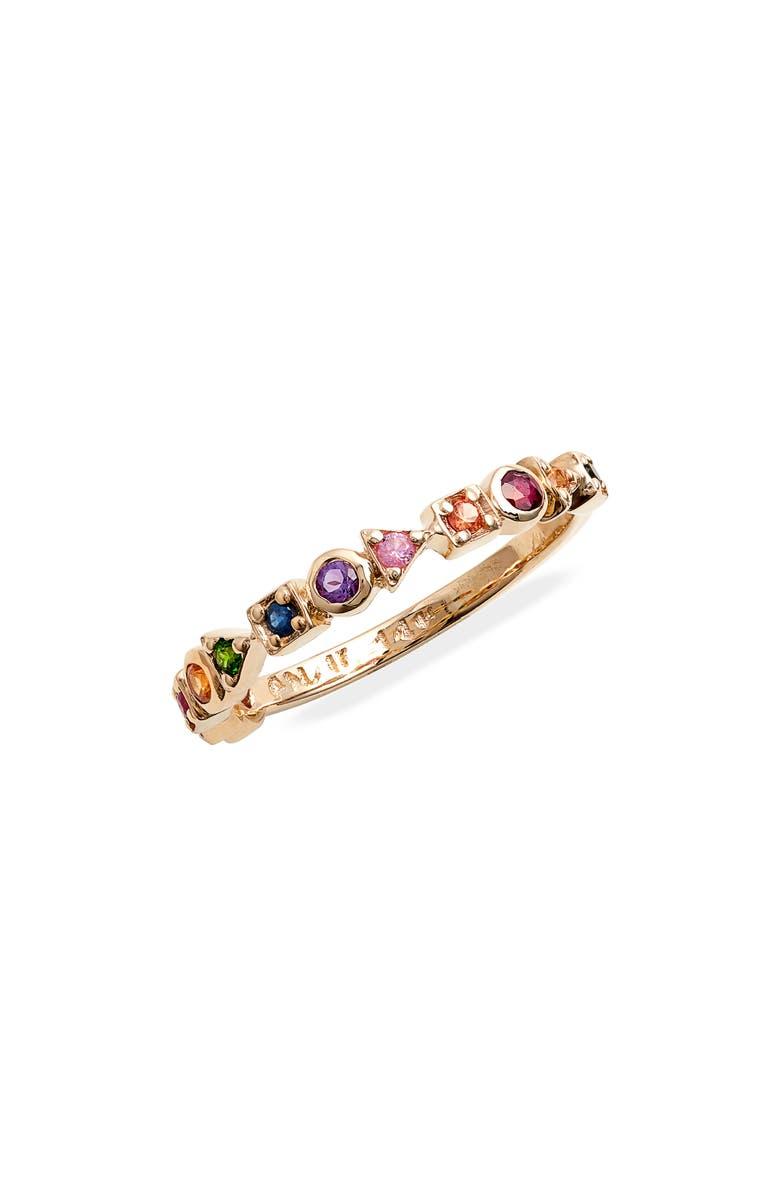 ANZIE Anzi Cleo Rainbow Eternity Band Ring, Main, color, RAINBOW