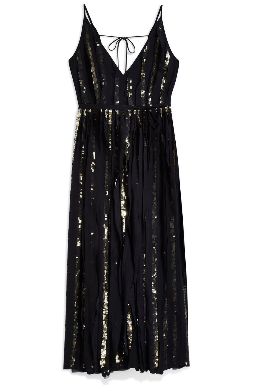 bd8fd41823 Topshop Sequin Stripe Chiffon Maxi Dress | Nordstrom