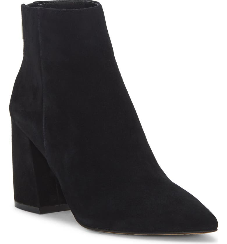 VINCE CAMUTO Benedie Pointed Toe Bootie, Main, color, BLACK SUEDE