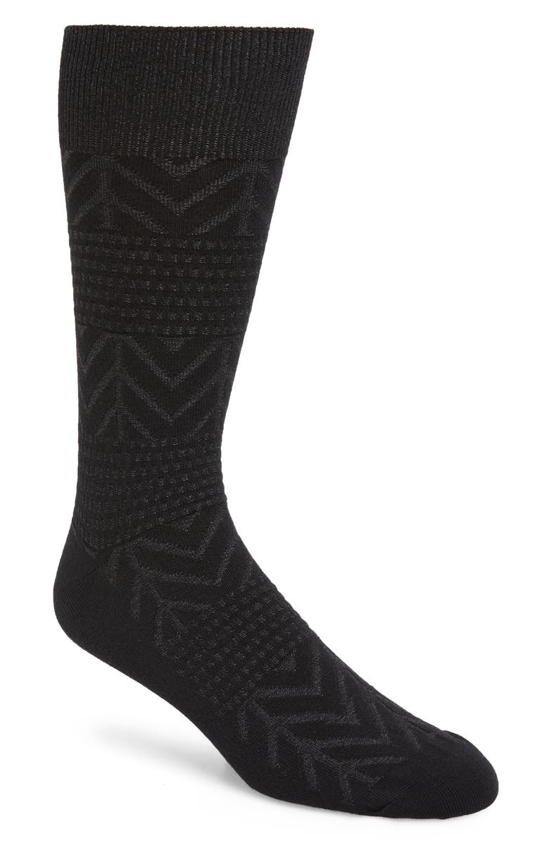 NORDSTROM MEN'S SHOP Chevron Dress Socks, Main, color, BLACK