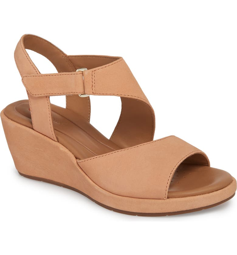 CLARKS<SUP>®</SUP> Un Plaza Wedge Sandal, Main, color, PEACH NUBUCK LEATHER