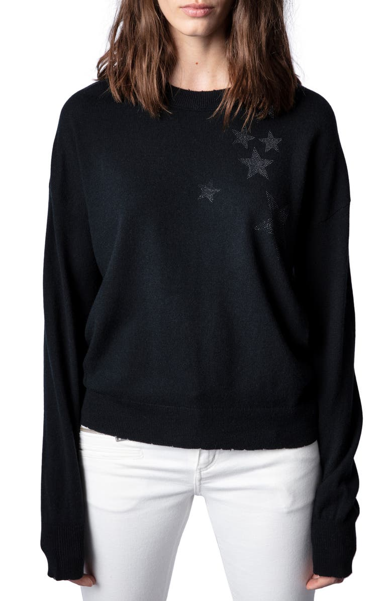 ZADIG & VOLTAIRE Gaby Strass Stars Wool & Cashmere Sweater, Main, color, NOIR