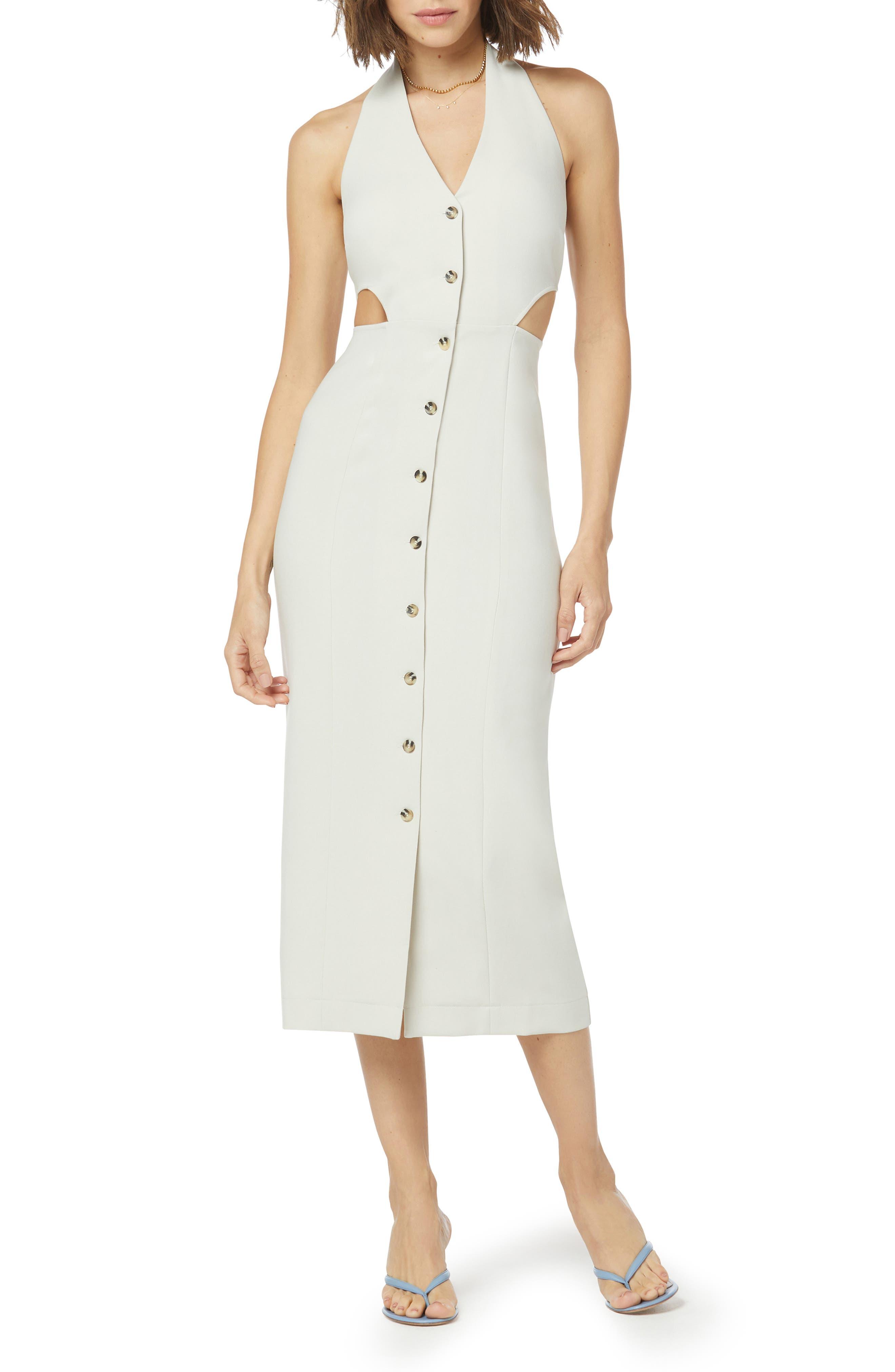 Button-Up Halter Neck Dress