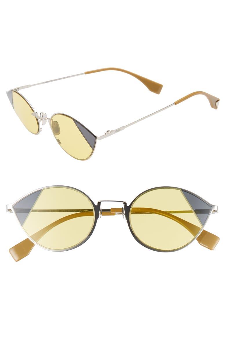 FENDI 51mm Aviator Sunglasses, Main, color, SILVER/ GOLD