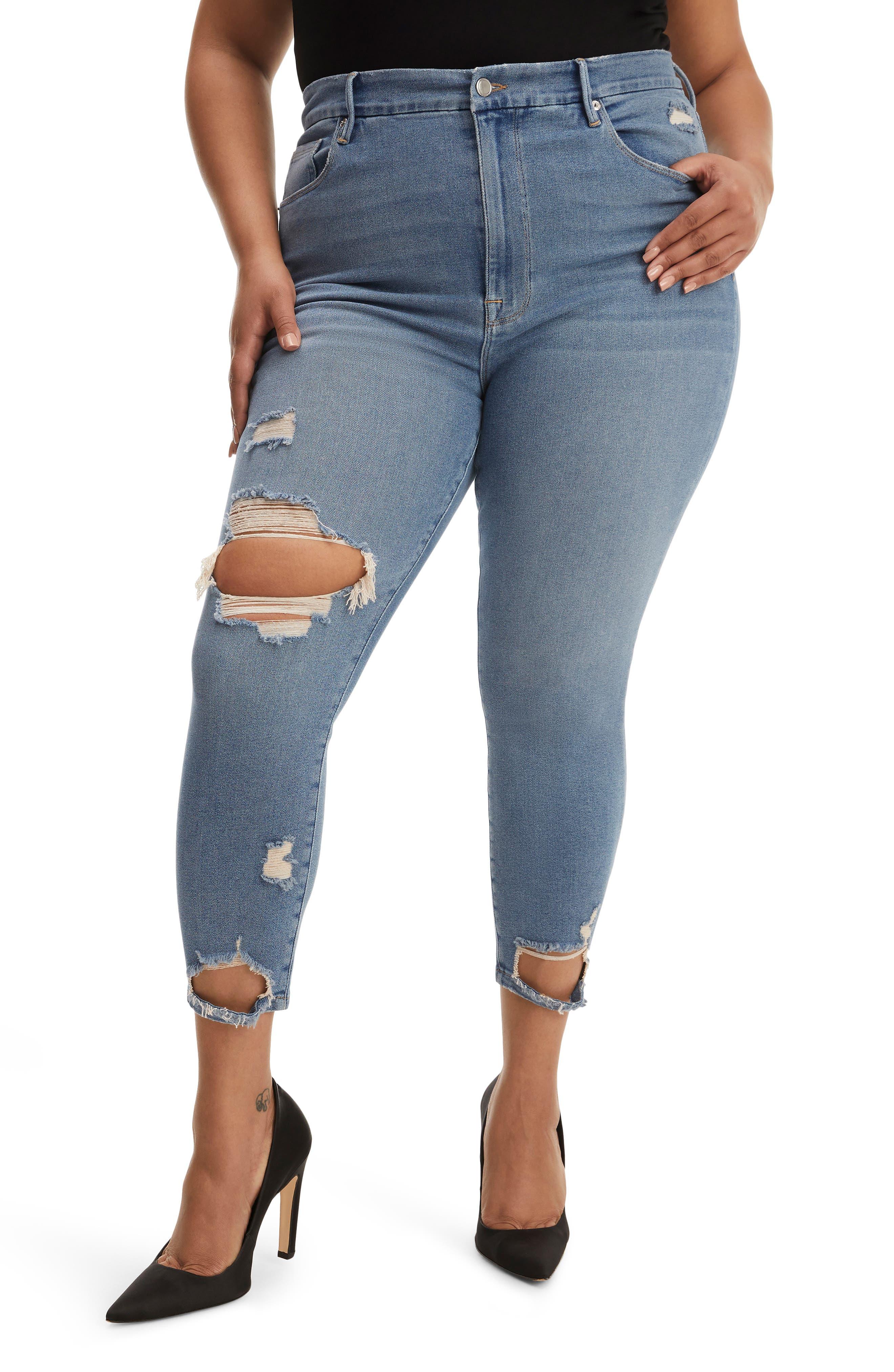 Plus Women's Good American Good Waist Ripped Crop Skinny Jeans