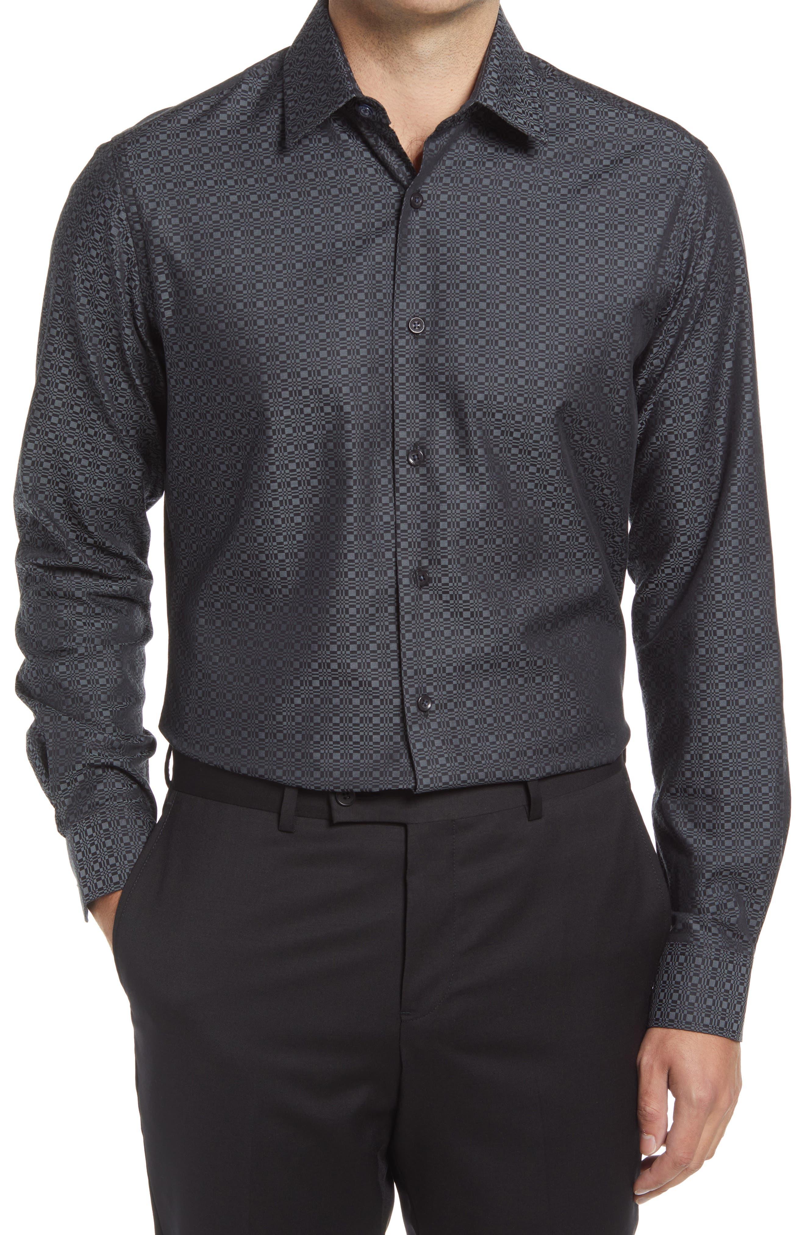 Tailored Fit Geometric Dress Shirt