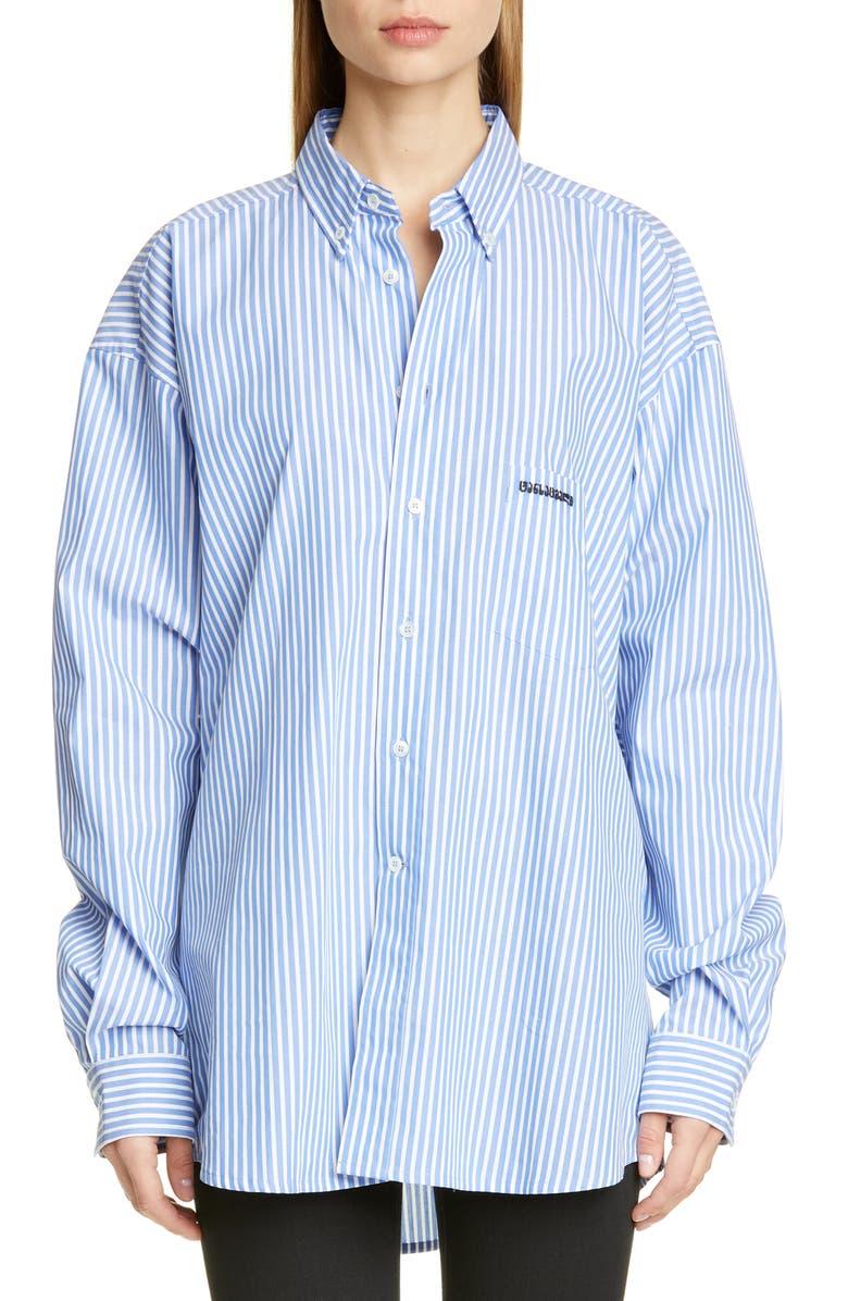 VETEMENTS Ring Back Neck Button Front Shirt, Main, color, 400