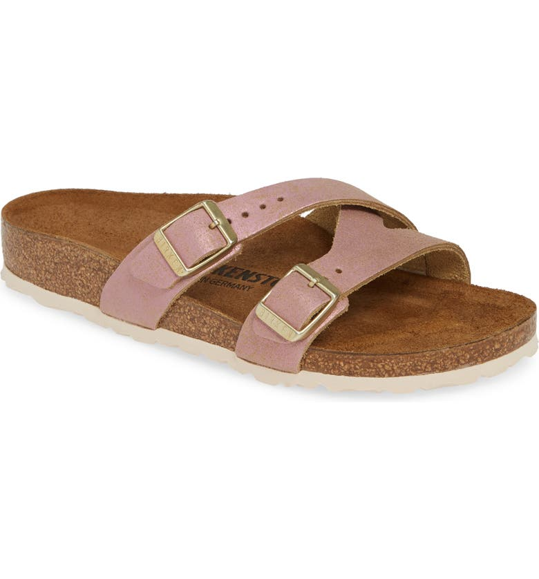 BIRKENSTOCK Yao Metallic Slide Sandal, Main, color, WASHED METALLIC PINK LEATHER