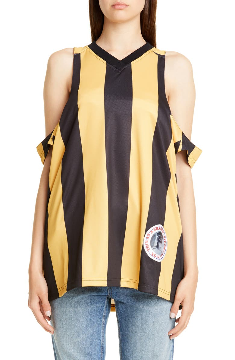 MARTINE ROSE Cutout Football Tank, Main, color, YELLOW/ BLACK