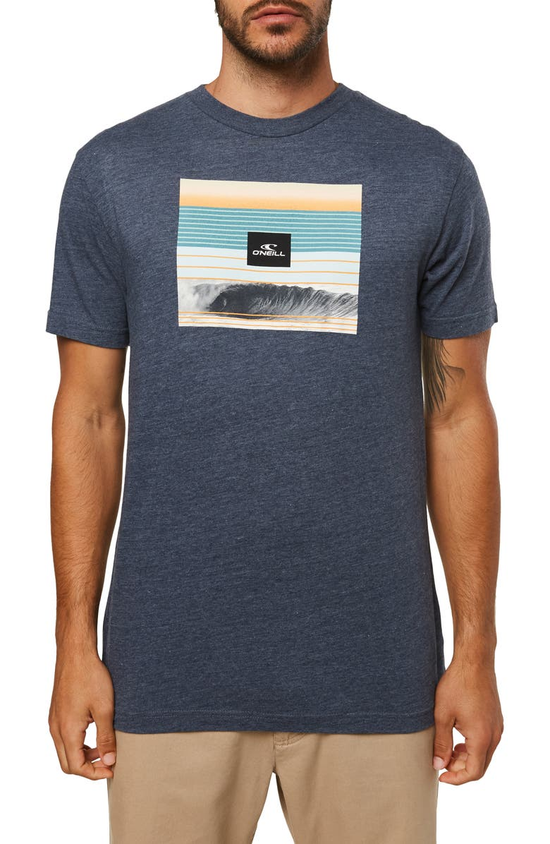 O'NEILL Wave Heist Graphic T-Shirt, Main, color, NAVY HEATHER